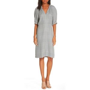 Lewitt V-Neck Check Plaid Print Midi Dress 0 XS